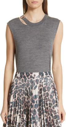 Calvin Klein Jewel Detail Cutout Wool & Silk Tank Top