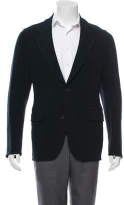 Prada Leather-Trimmed Wool Blazer
