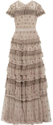 Needle & Thread Andromeda Ruffled Embellished Tulle Gown - Beige