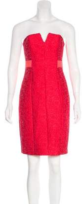 Halston Strapless Embroidered Dress