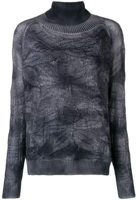 Avant Toi floral knit polo neck