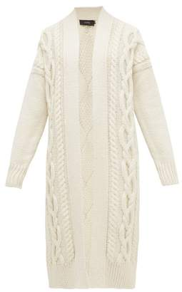 Joseph Cabled Long Line Merino Wool Cardigan - Womens - Ivory