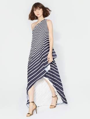 Halston One Shoulder Stripe Wrap Gown