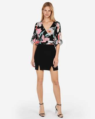 Express Floral Pleated Kimono-Sleeve Top
