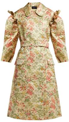 Simone Rocha Double Breasted Floral Brocade Coat - Womens - Green