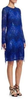 Naeem Khan Fringed Beaded Cocktail Dress