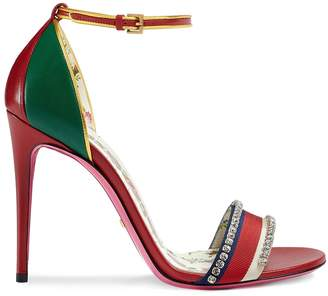 Gucci Leather Crystal Sandal