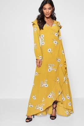 boohoo Kavina Ruffle Shoulder Wrap Front Maxi Dress