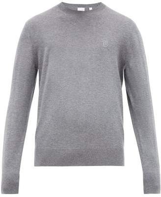 Burberry Tb Embroidered Cashmere Sweater - Mens - Grey