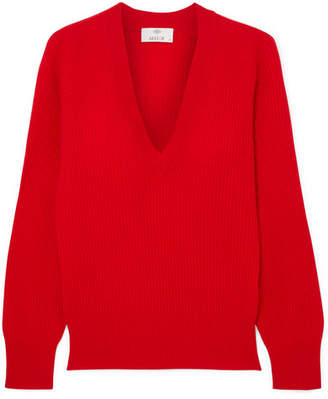 Allude Ribbed Cashmere Sweater - Red