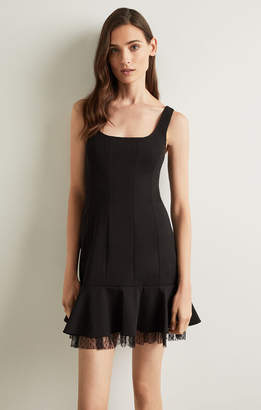 BCBGMAXAZRIA Scoop Neck Fluted Dress