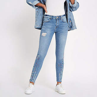 River Island Blue Amelie gemstone mid rise skinny jeans