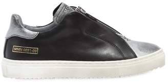 Momino Zip-Up Nappa Leather Slip-On Sneakers