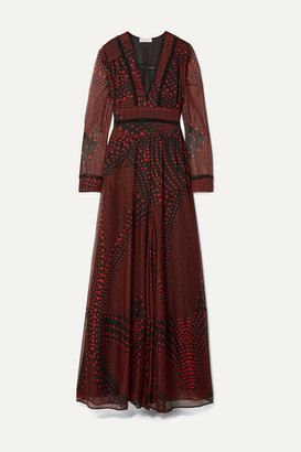 Eywasouls Malibu Chelsea Crochet-trimmed Printed Chiffon Maxi Dress - Black