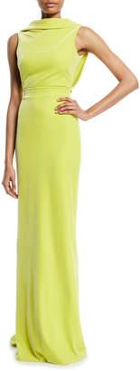 Brandon Maxwell Sleeveless Drape-Back Column Evening Gown