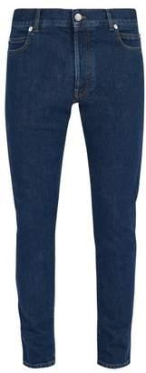 Balmain Logo Embossed Slim Leg Jeans - Mens - Blue