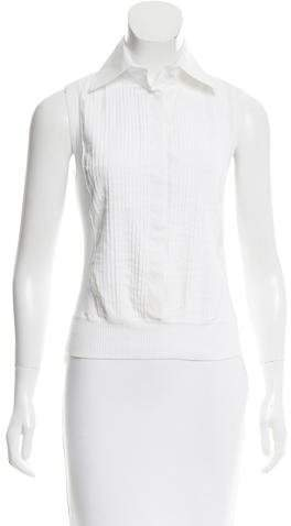 Chanel Pintuck Pointed Collar Top
