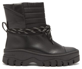 Ganni Quilted Panel Leather Biker Boots - Womens - Black