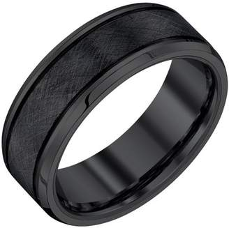 Armani Exchange Jewelry Men's Black Tungsten Textured Band, 8mm