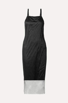 Opening Ceremony Layered Crystal-embellished Fishnet And Satin Slip Dress - Black