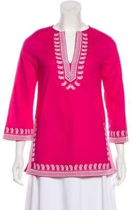 MICHAEL Michael Kors Embroidered Long Sleeve Tunic Pink Embroidered Long Sleeve Tunic