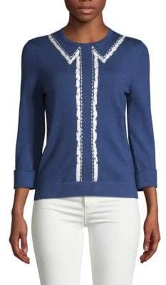 Carolina Herrera Bolero Embroidered Sweater