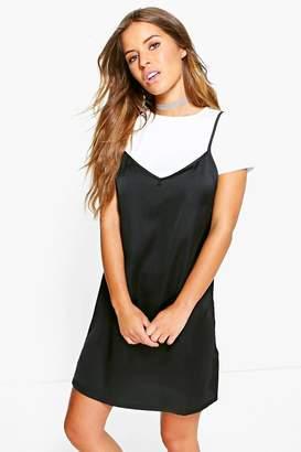 boohoo Petite 2 in 1 Satin Slip Dress