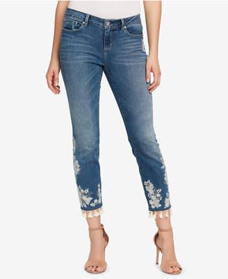 Vintage America Petite Tassel-Trim Skinny Jeans