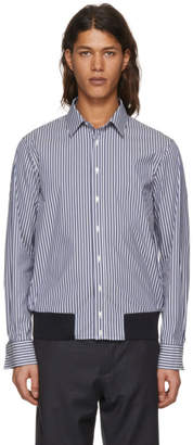 Neil Barrett Blue and White Striped Blouson Shirt