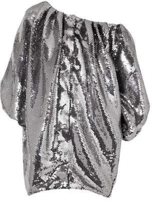 Halpern - Off-the-shoulder Sequined Tulle Mini Dress - Gunmetal