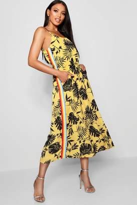 boohoo Tropical Print Rainbow Stripe Dress