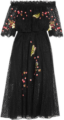 Temperley London - Leo Off-the-shoulder Embroidered Lace Midi Dress - Black $1,450 thestylecure.com