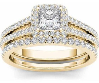 Imperial Diamond Imperial 3/4 Carat T.W. Diamond Single Halo 14kt Yellow Gold Engagement Ring Set