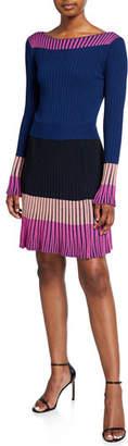 Pinko Long-Sleeve Knit Colorblock Dress