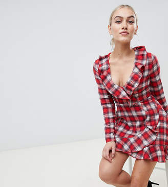 Missguided Petite wrap dress in red check