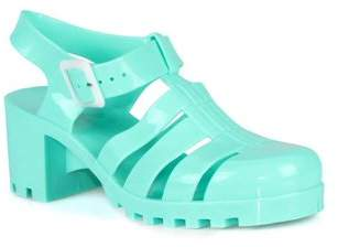 d0c3d91211c8 Nature Breeze Caged Jelly Block Heels Women's Sandals in Green