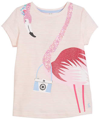 Joules Striped Sequin Flamingo Short-Sleeve Tee, Size 3-10