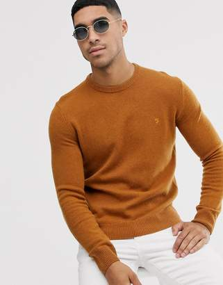 Farah Rosecroft wool crew neck jumper in tan