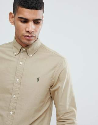 Polo Ralph Lauren Slim Fit Garment Dyed Shirt Polo Player In Tan