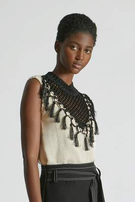 Yigal Azrouel Macrame Fringe Knit Top