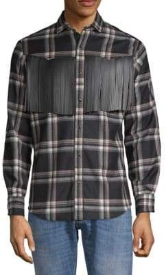 Valentino Plaid Fringe Wool Button-Down Shirt