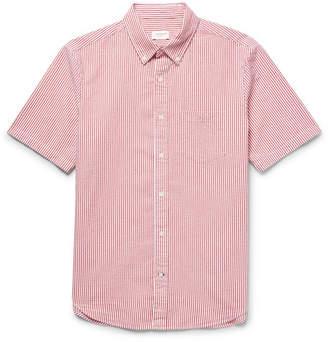 Club Monaco Slim-Fit Button-Down Collar Striped Cotton-Seersucker Shirt