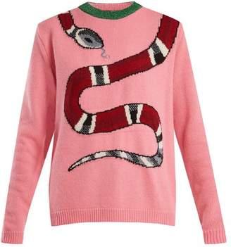 Gucci Snake Intarsia Wool Blend Sweater - Womens - Pink Multi