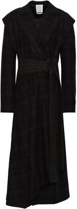Rosie Assoulin Belted Checked Wool-blend Felt Coat
