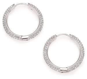 "Adriana Orsini Pave Crystal Hoop Earrings/0.9"""