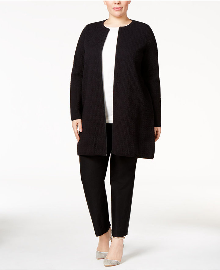 AlfaniAlfani Plus Size Jacquard Sweater Coat, Only at Macy's