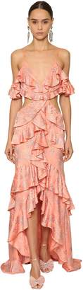Raisa & Vanessa Embellished& Ruffled Jacquard Long Dress