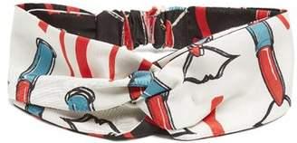 Valentino Lipstick Print Silk Twill Headband - Womens - White Multi