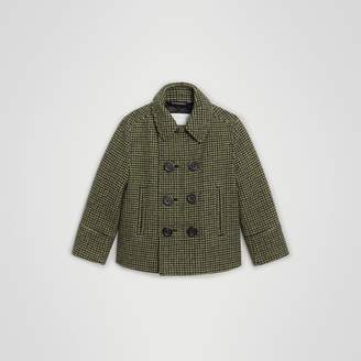 Burberry Childrens Check Wool Blend Tailored Coat