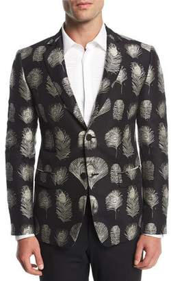 Alexander McQueen Feather-Print Jacquard Evening Jacket